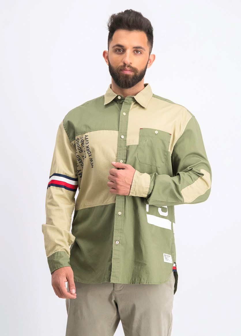 Men's Colorblocked Logo Graphic Shirt, Olive Green