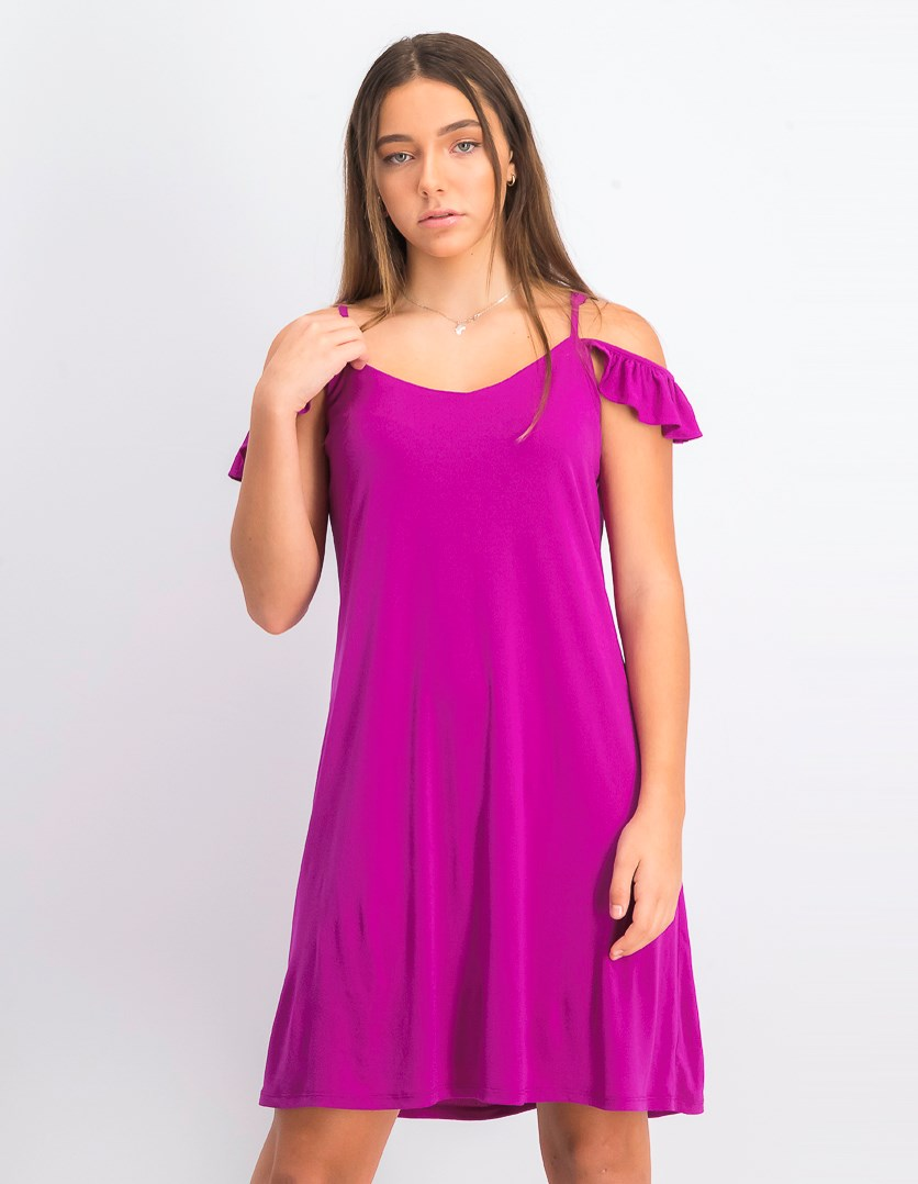 Women's Ruffled Cold Shoulder Shift Dress, Magenta Jewel