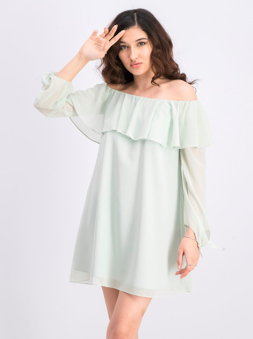 Women's Off-The-Shoulder A-Line Dress, Cool Mint