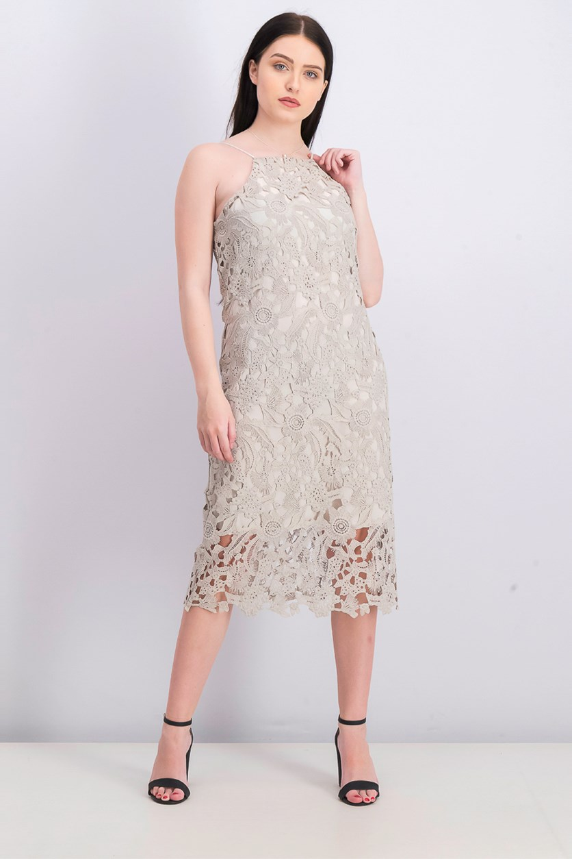 Women's Lace Midi Dress, Bisque