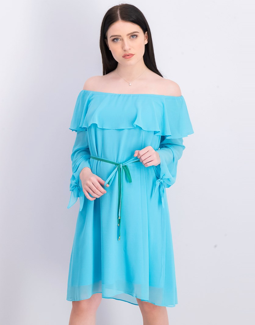 Women's Off The Shoulder Ruffle & Tie Dress, Turquoise