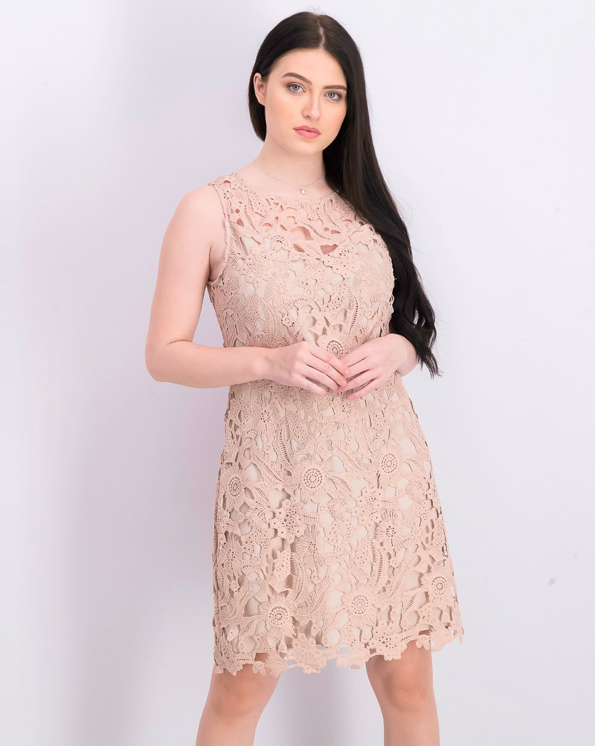 Womens Floral Lace Sheath Dress, Blush