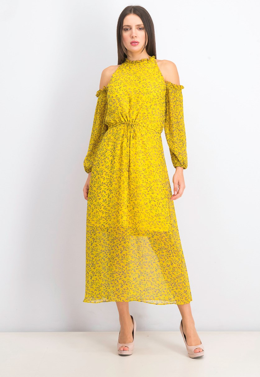 Women's Cold Shoulder Midi Dress, Yellow