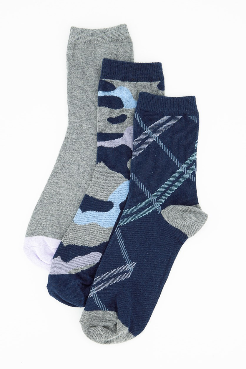 Women's 3 Pack Fashion Crews Socks, Navy Combo