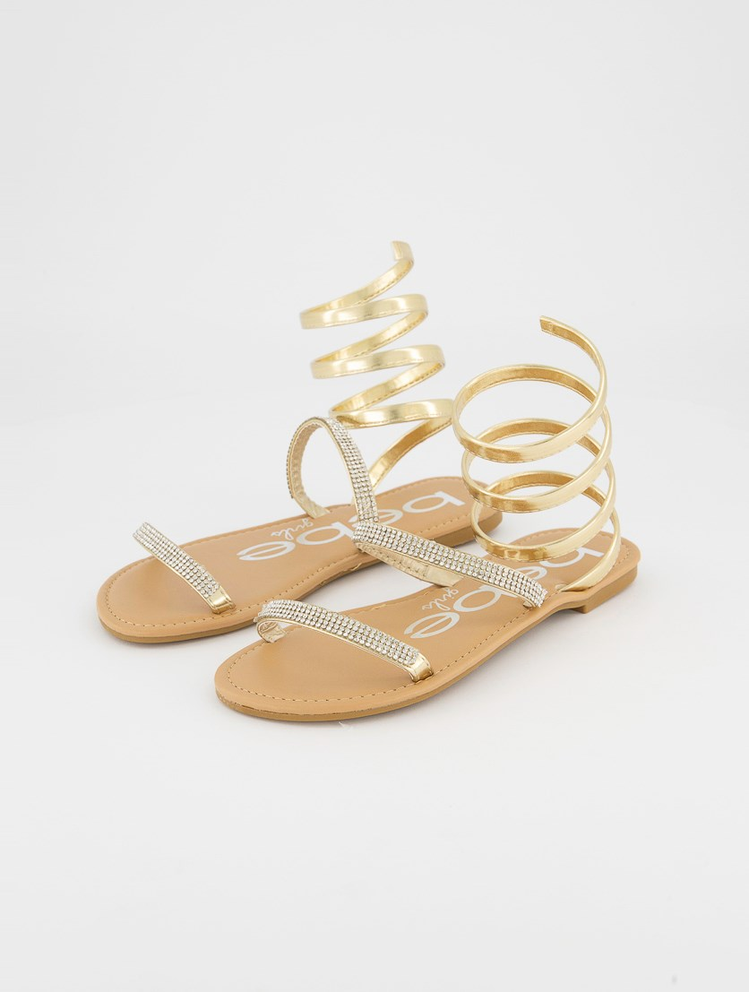 Kids Girls Rhinestone Cord-Style Sandals, Gold