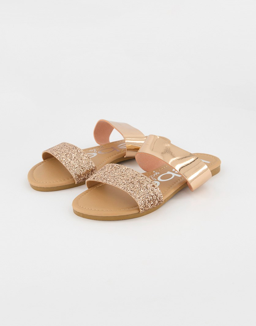 Girls Glitters Slip On Flat Sandals, Rose Gold