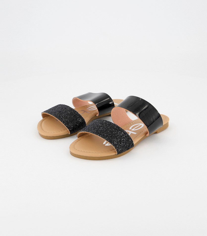Girls Glitters Slip On Flat Sandals, Black