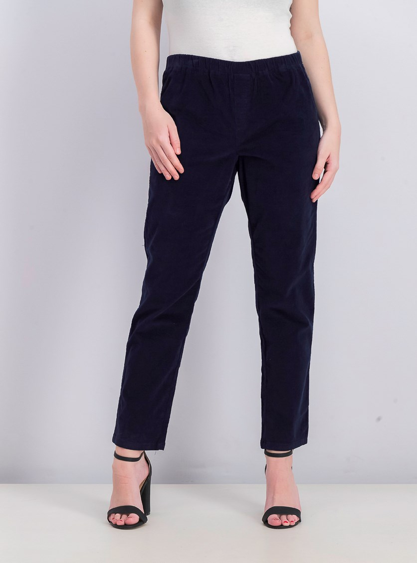 Women's Petite Corduroy Pull-On Pants, Intrepid Blue