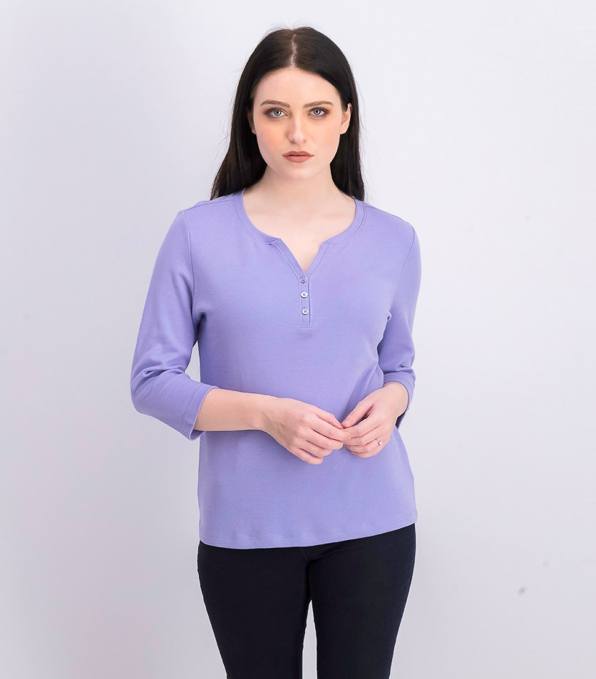 Women's Petite Cotton Henley Top, Purple Bliss