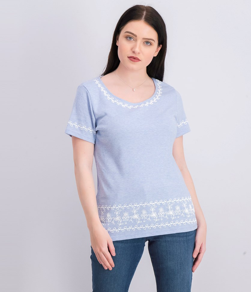 Striped Embroidered Top, Light Blue Heather