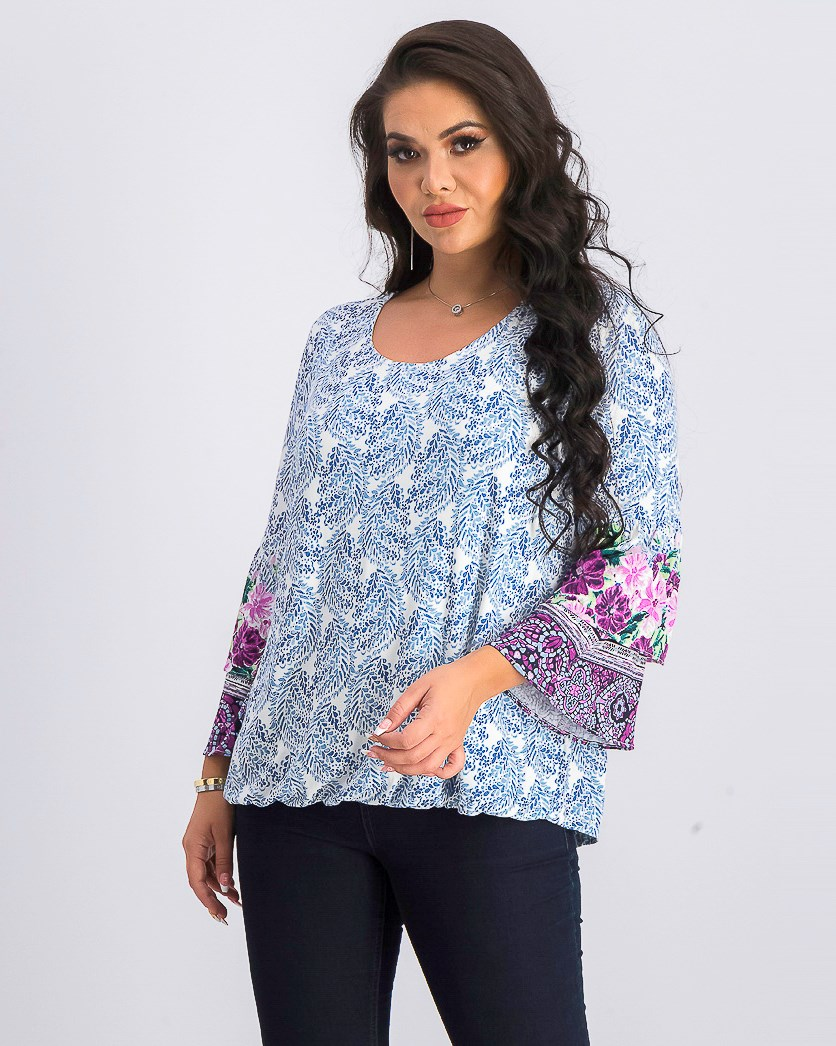 Women's Printed Tiered-Sleeve Top, Crystal Blooms