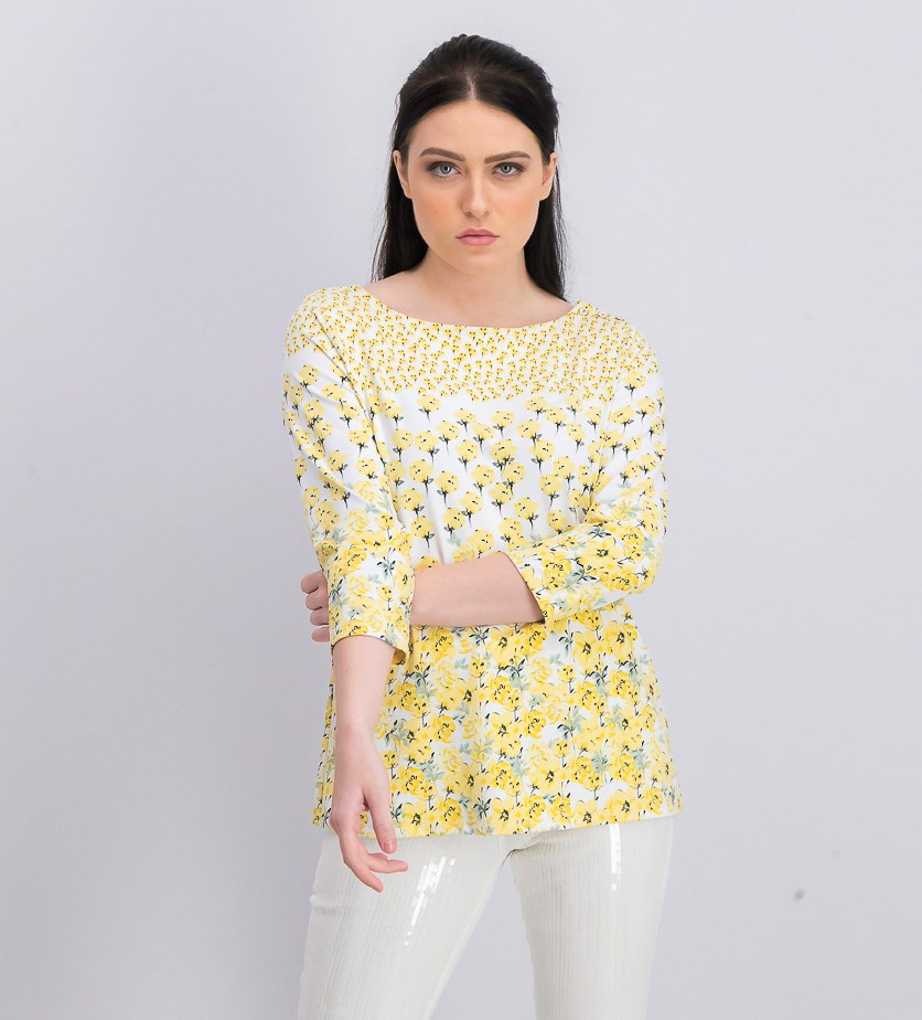 Women's Floral-Print Boat-Neck Top, Bright White Combo
