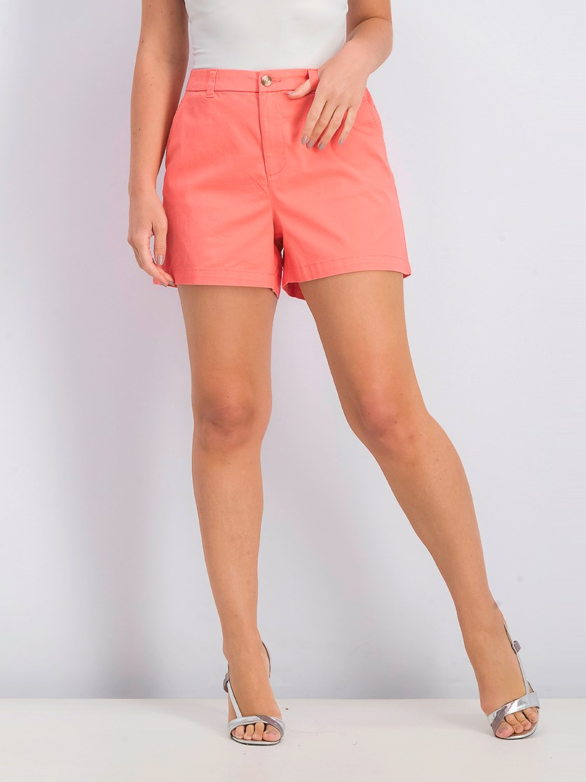 Women's Flat-Front Chino Shorts, Coral Bliss