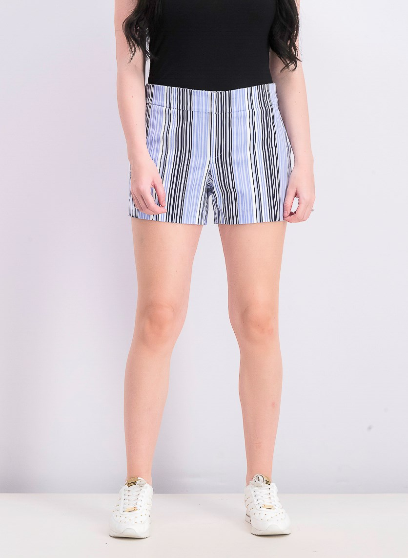 Womens Striped Shorts, Blue Americ