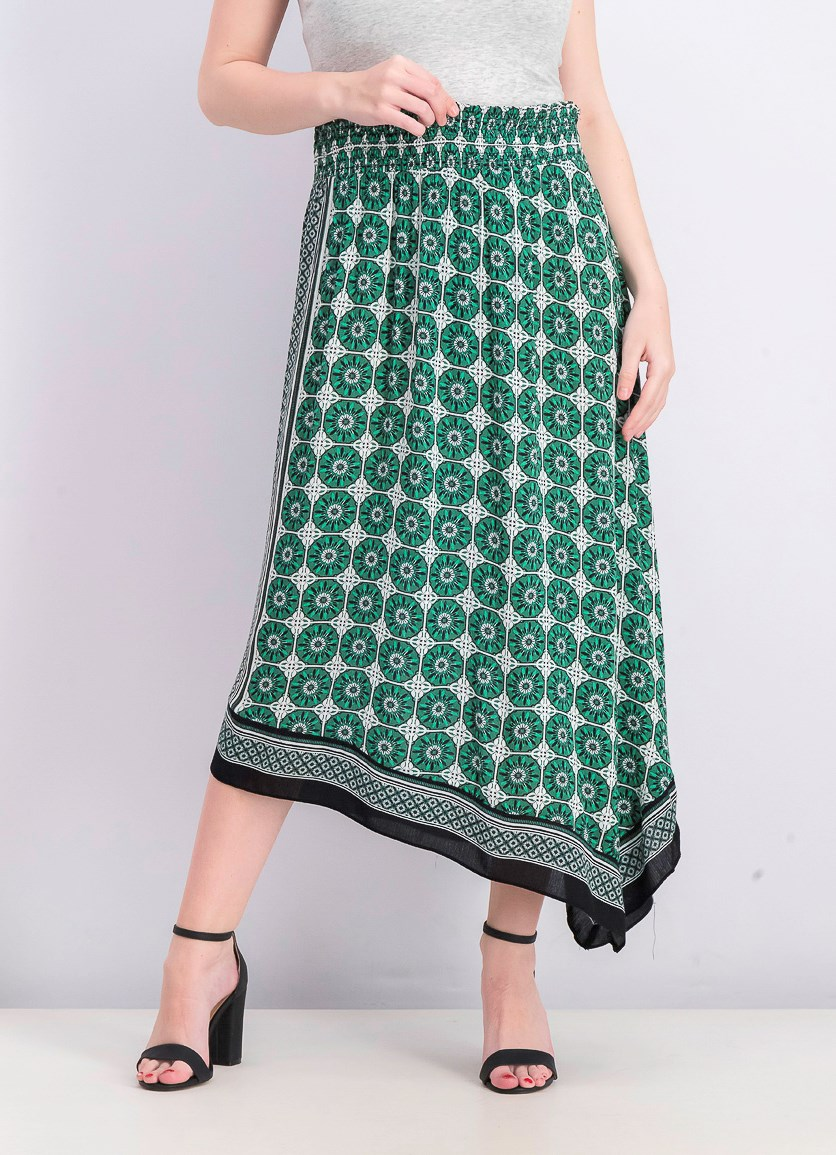 Women's Printed Asymmetrical Skirt, Flower Tile