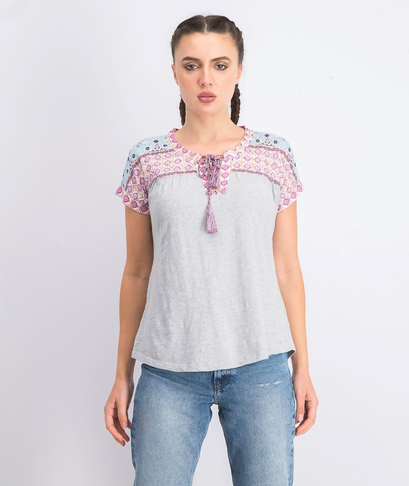 Women's Petite Printed Lace-Up Top, Summer Border