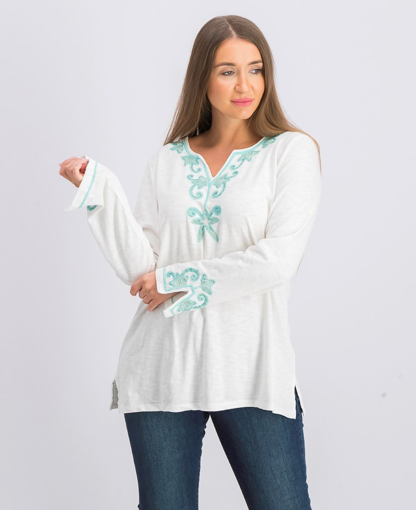 Women's  Cotton Embroidered Top, White