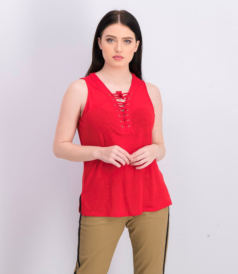 Women's Petite Lace-Up Top, Real Red