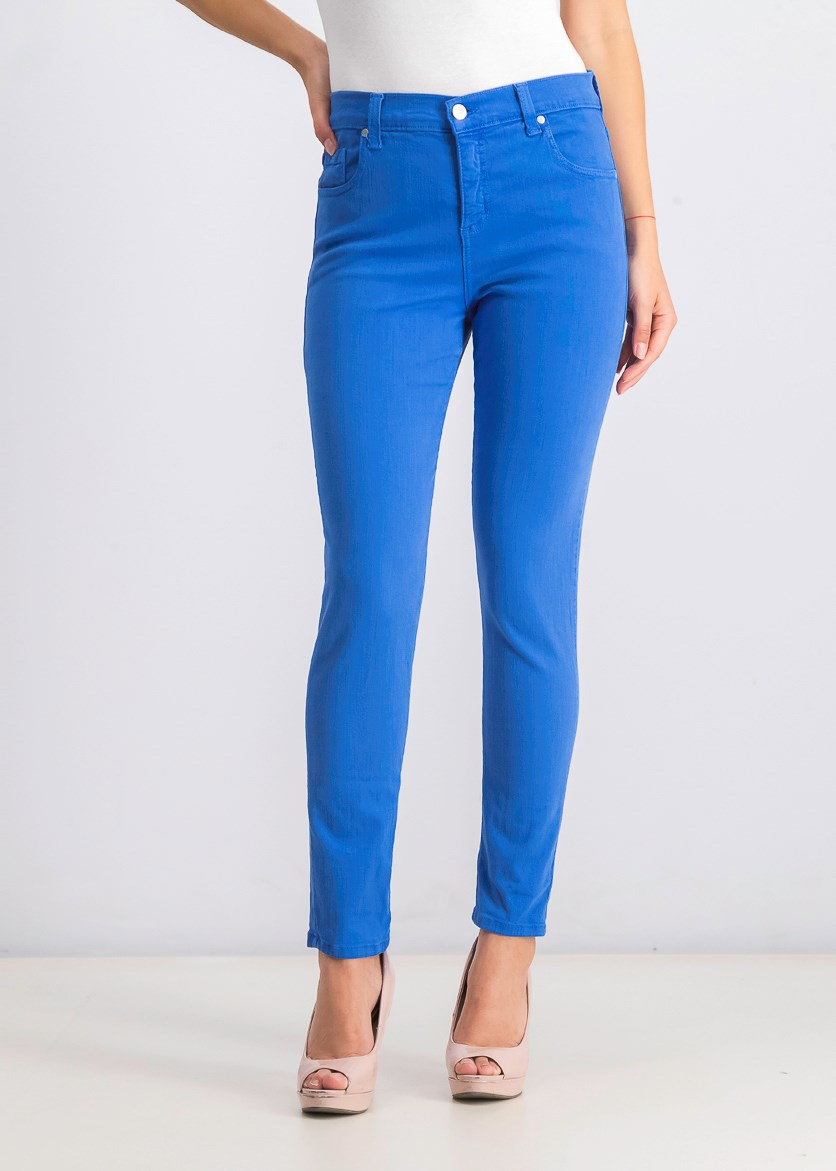Womens Zuma Denim High Rise Colored Skinny Jeans, Blue