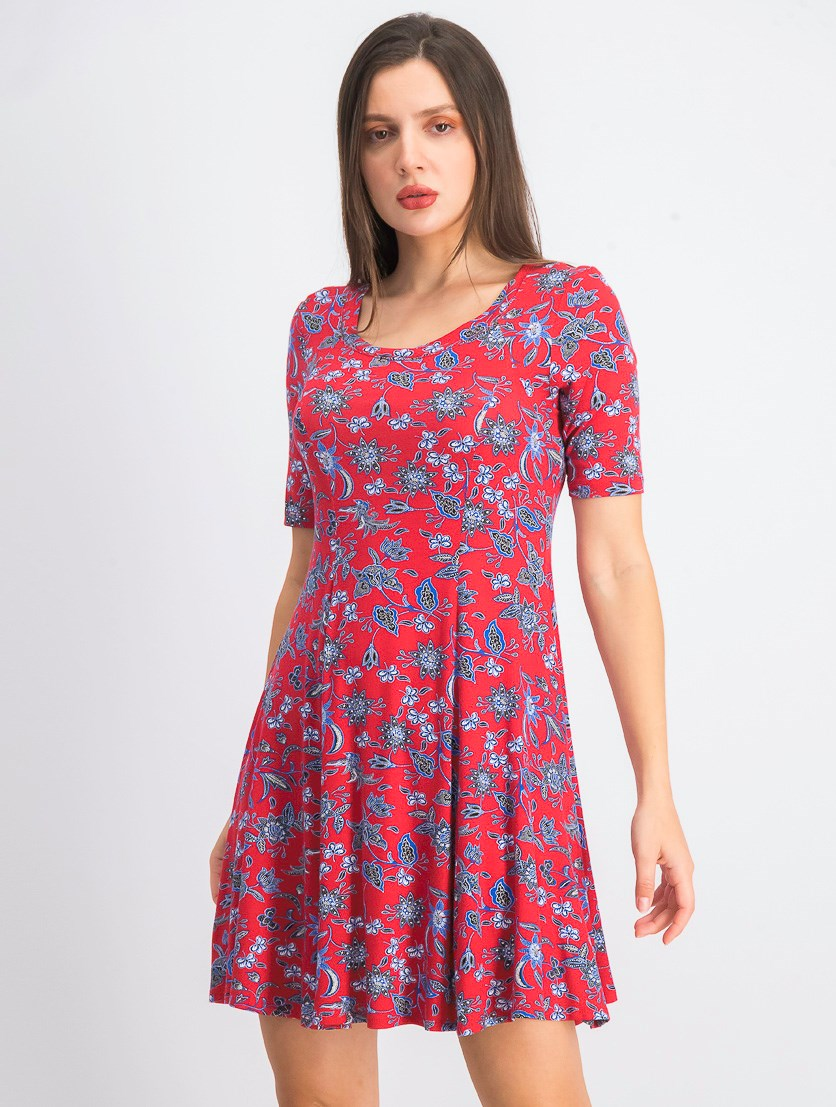 Women's Floral A-Line Casual Dress, Red Combo