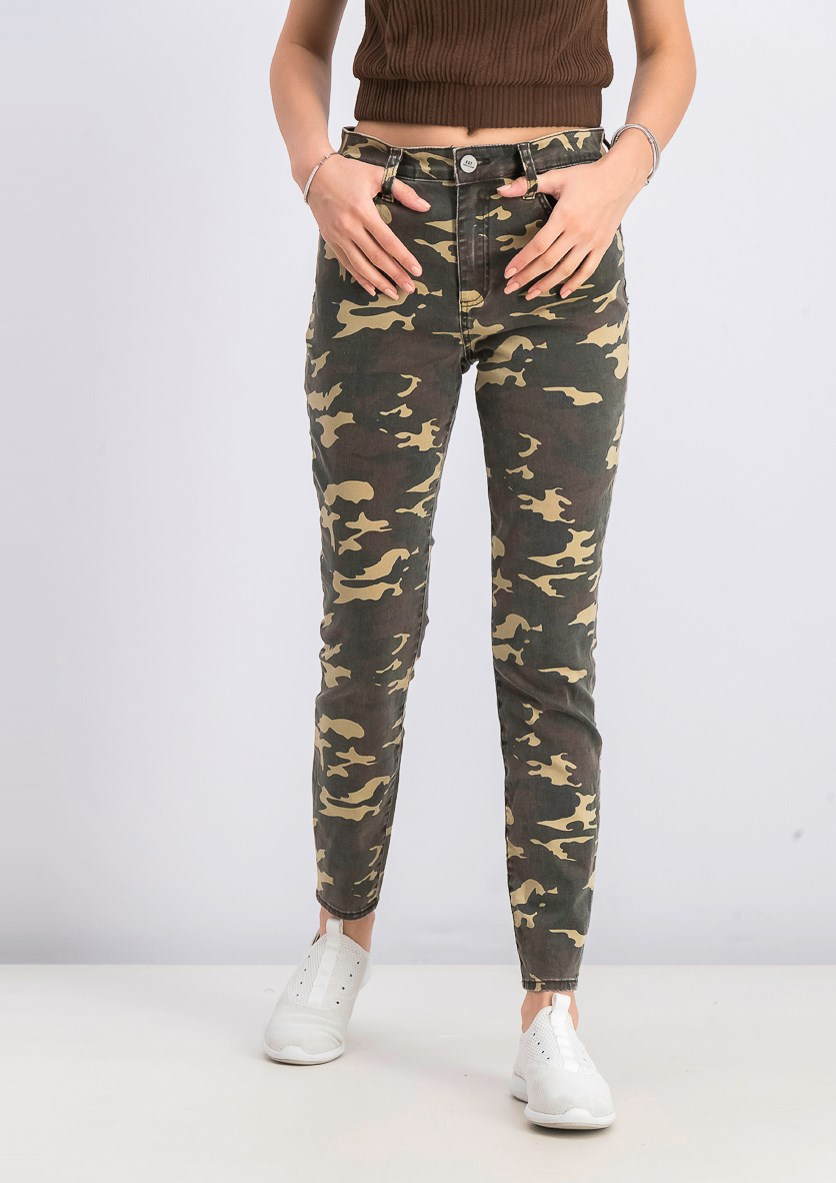 Women's High Rise Ankle Skinny Jeans, Camouflage