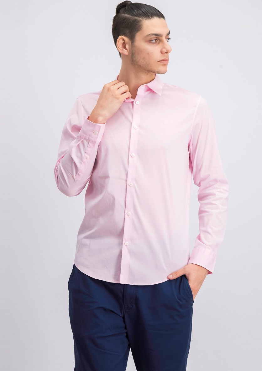 Men's Slim-Fit Stretch Solid Shirt, Plush Pink