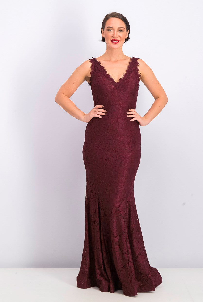 Women's Lace V-Neck Evening Dress, Maroon
