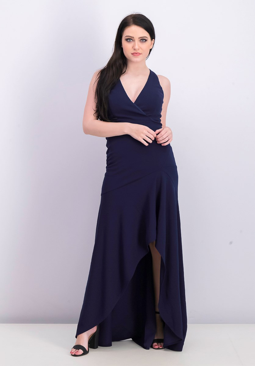 Women's V-Neck High-Low Gown, Navy Blue