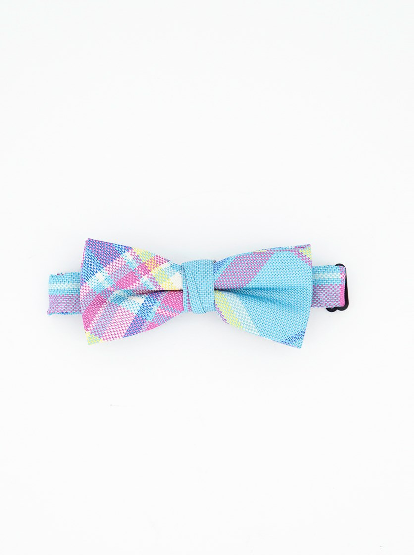 Little Boys Pastel Plaid Pre-Tied Silk Bow Tie, Blue/Purple