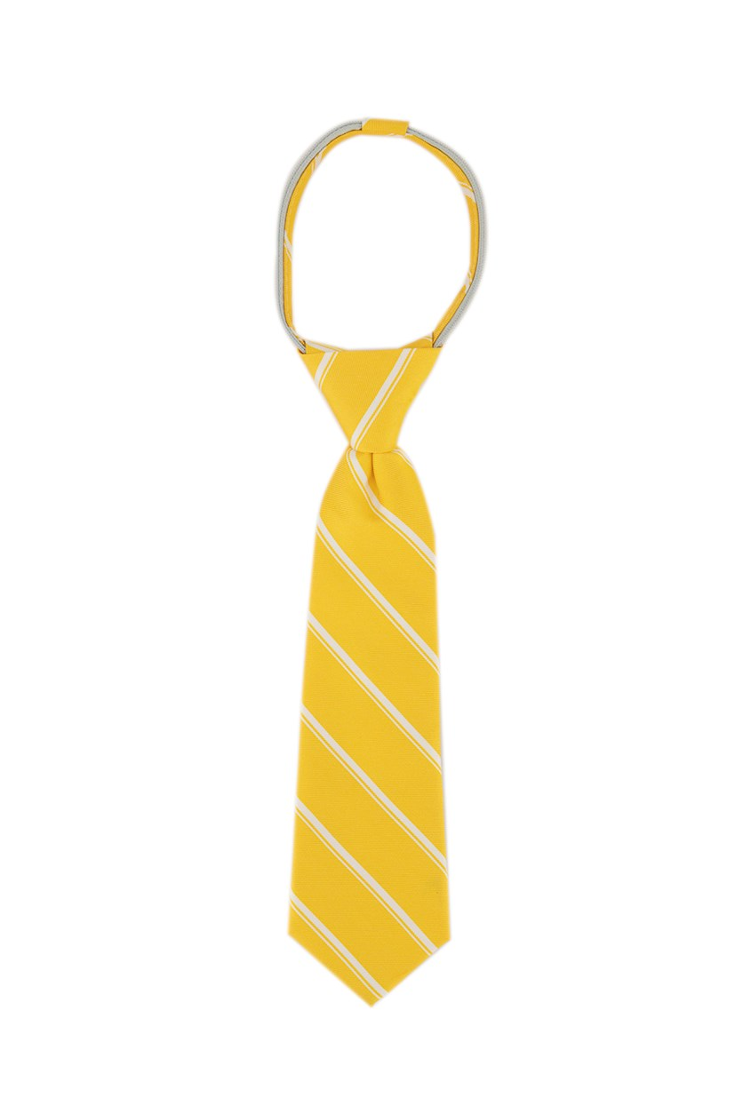 Kids Boys Stripe Neck Tie, Yellow/White
