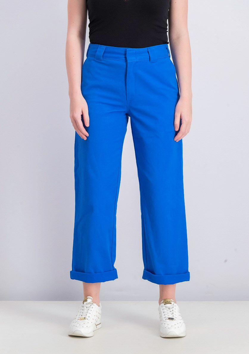 Women's Crop Roll Hem, Blue