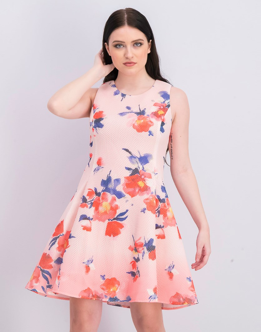 Floral Ombre Mesh Fit Flare Dress, Pink