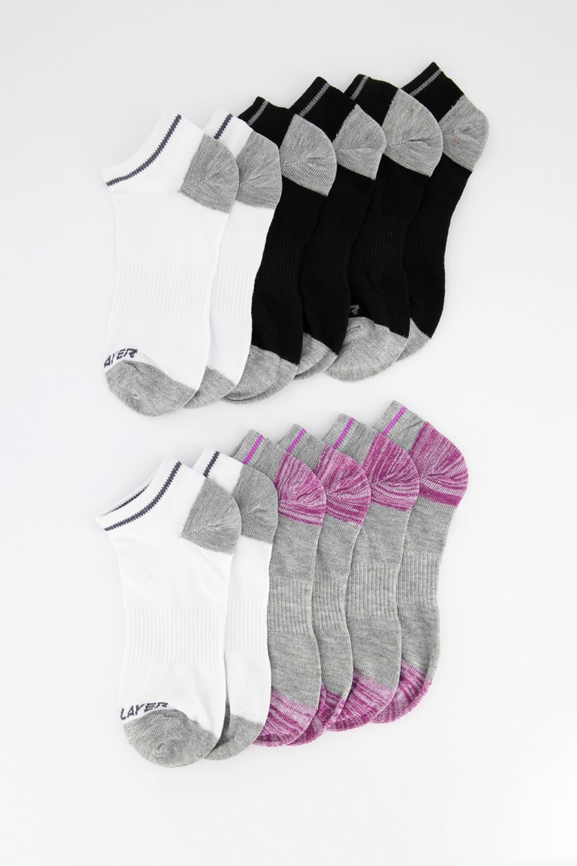 Women's 12 Pairs Socks, Black/Grey/White