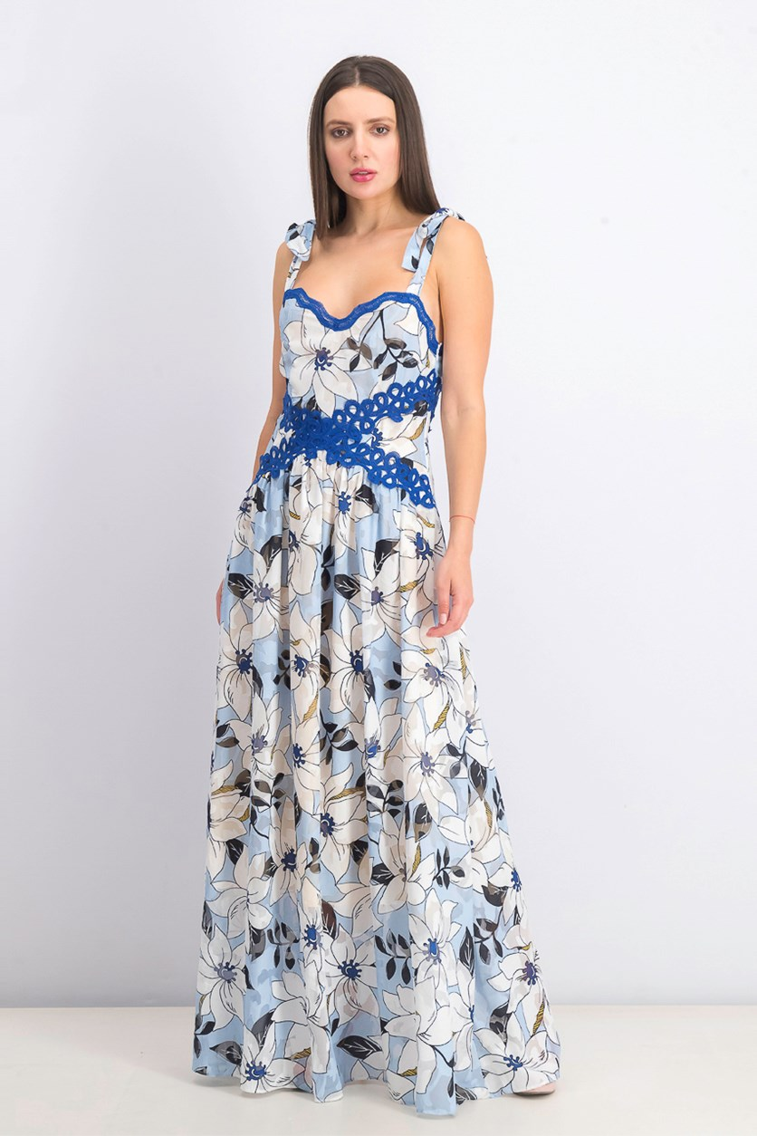 Womens Livi Floral Lace Trim Maxi Dress, Blue Combo