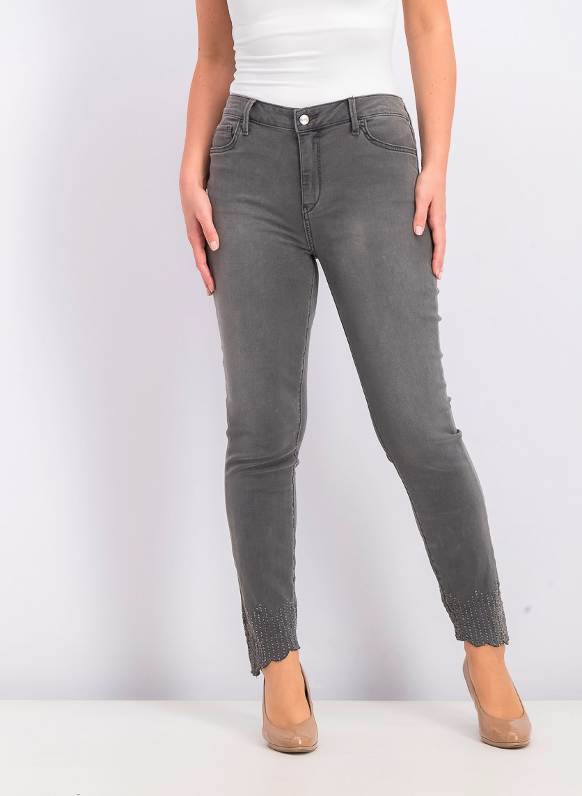 Women's Mid Rise Skinny Ankle Jeans, Dark Grey