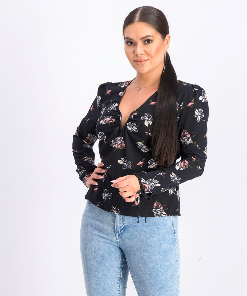 Women's Pullover Floral Tops, Black