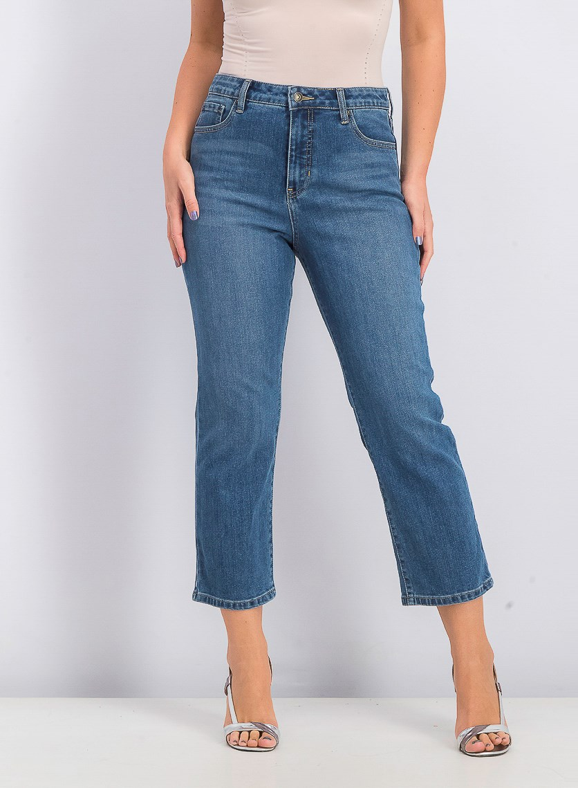 Women's Carla Cropped Straight Leg Jeans, Denim Blue