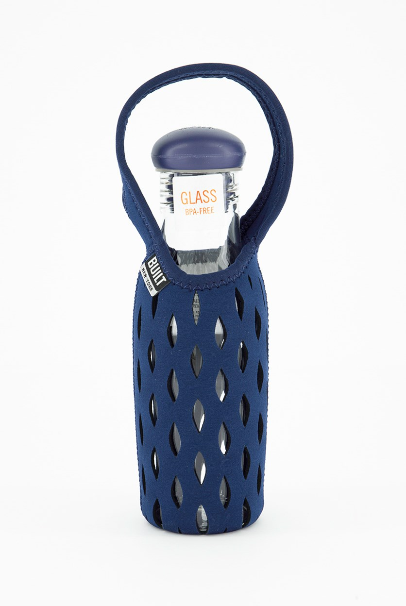 17oz Glass Water Bottle With Neoprene Tote, Navy
