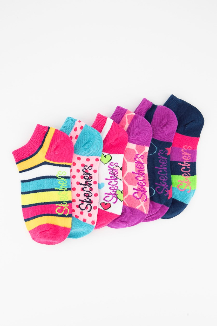 Girl's 6-Pair Low Cut Socks, Pink/Navy/Purple