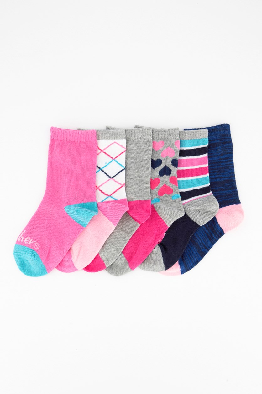 Girl's 6 Pair Printed Crew Socks, Grey/Pink/Navy/Turquoise