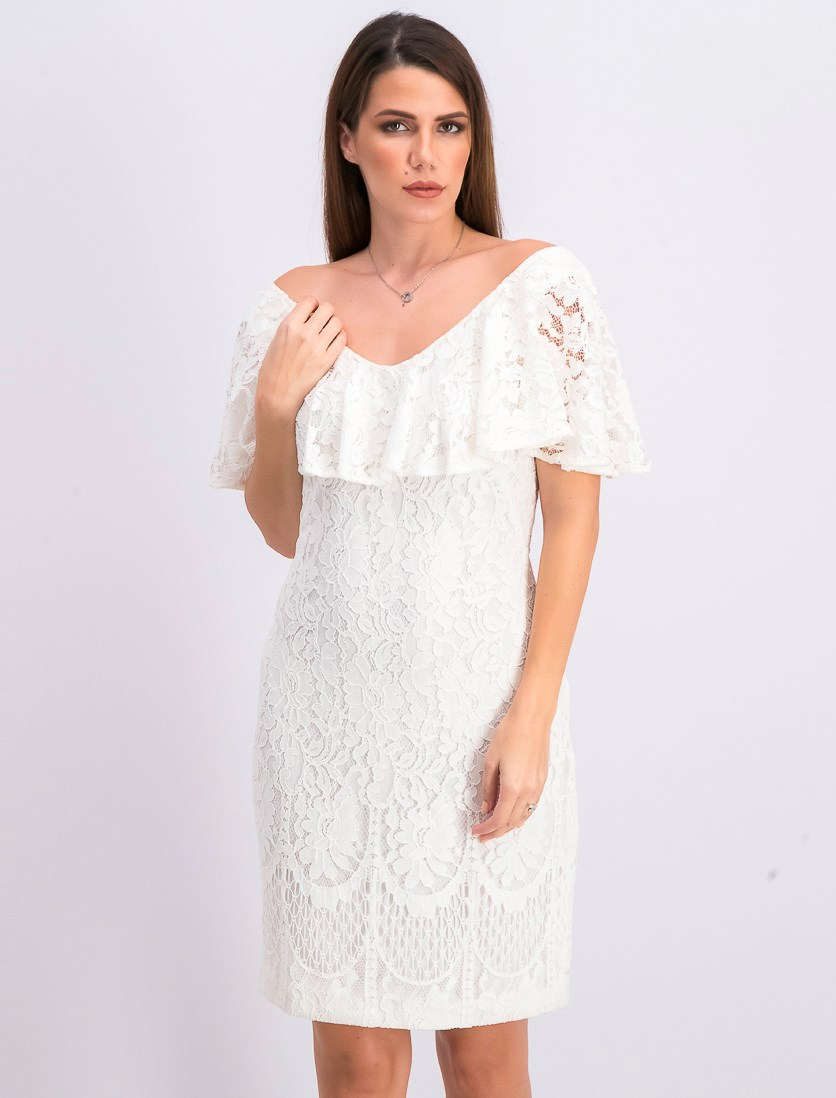 Women's Ruffled-Overlay Floral-Lace Dress, White
