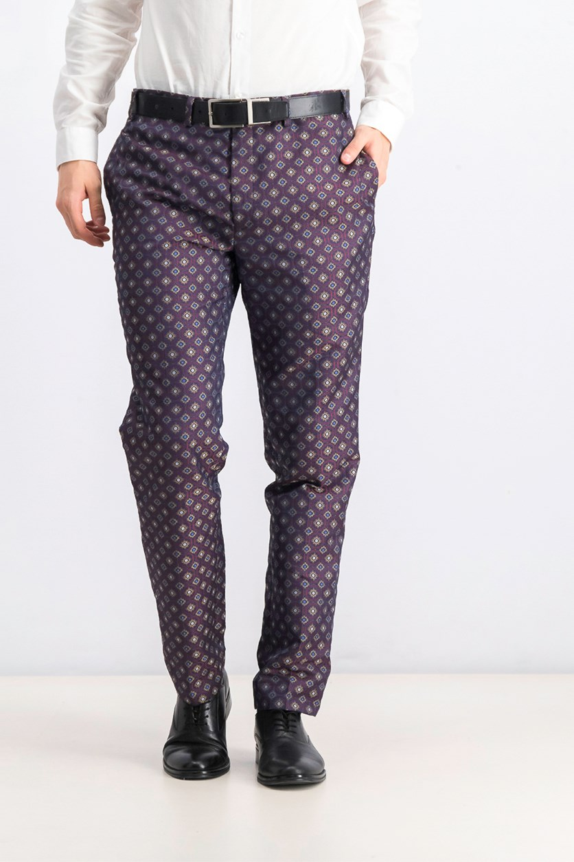 Men's Slim-Fit Medallion Jacquard Suit Pants, Wine/Navy