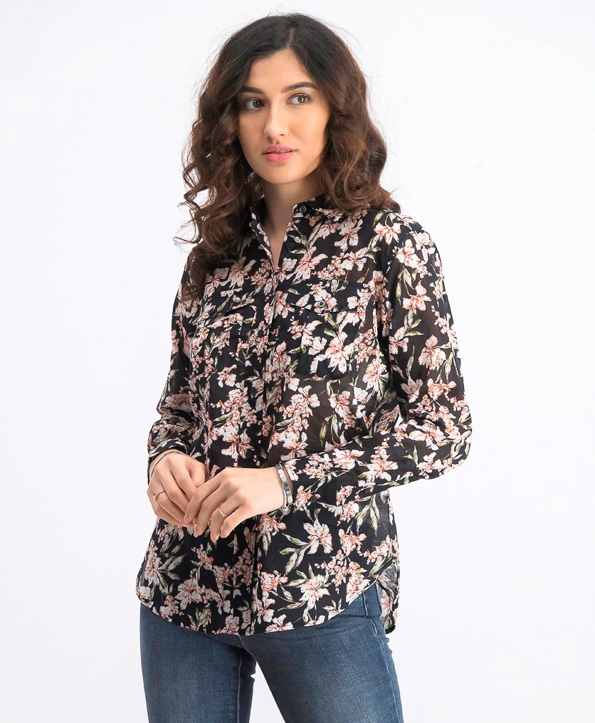 Womens Petite Floral Tops, Black Combo
