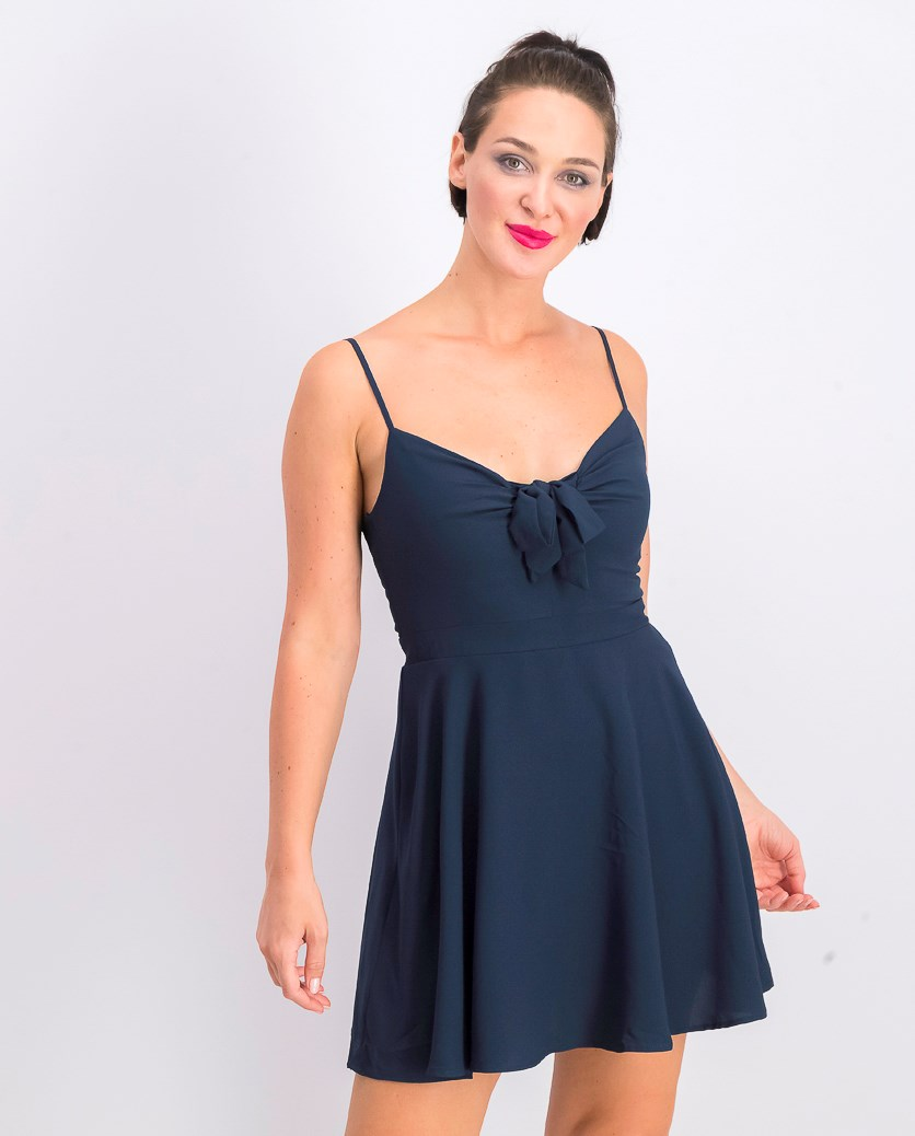 Juniors' Bow Fit & Flare Dress, Navy