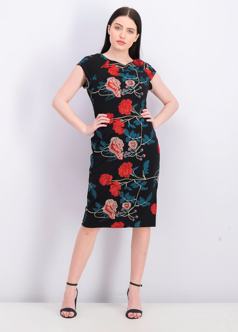 Women's Floral Embroidered Cap Sleeve Sheath Dress, Black/Teal