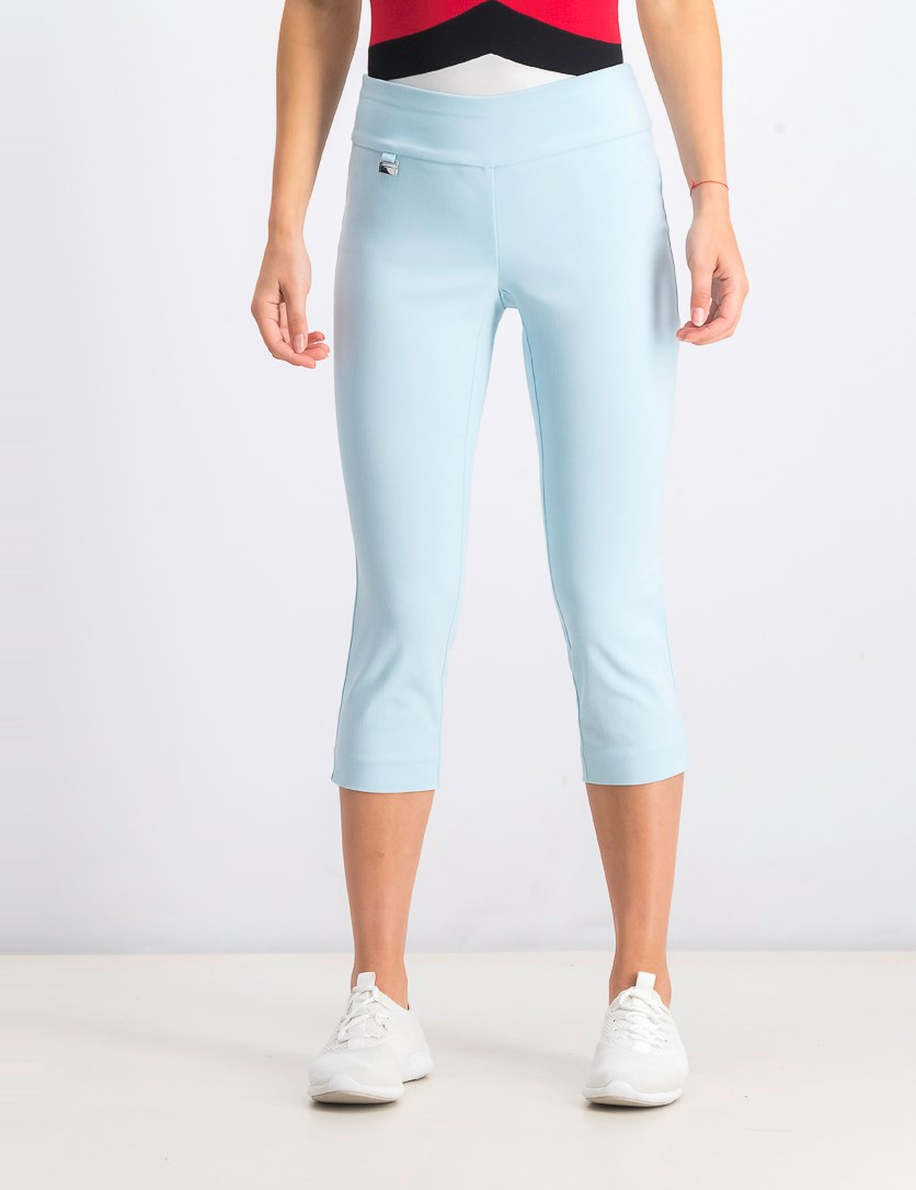 Petite Tummy-Control Pull-On Capri Pants, Oasis Blue