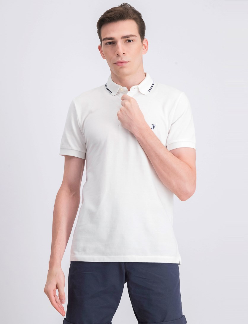 Men's Pullover Summer Tipping Polo Shirt, White