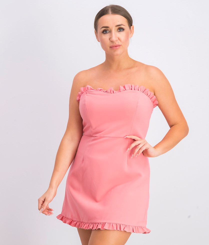 Women's Ruffled Mini Cocktail Dress, Pink
