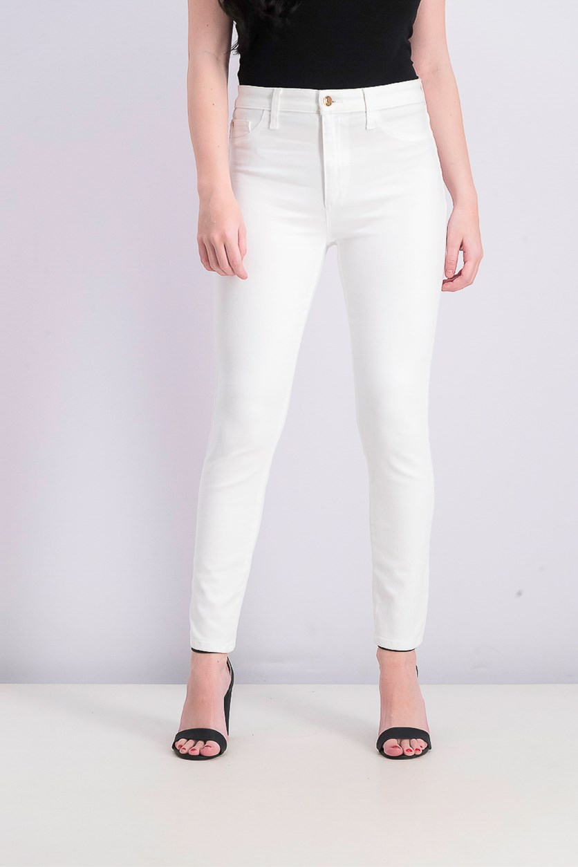 Womens High Waist Ankle Skinny Jeans, White