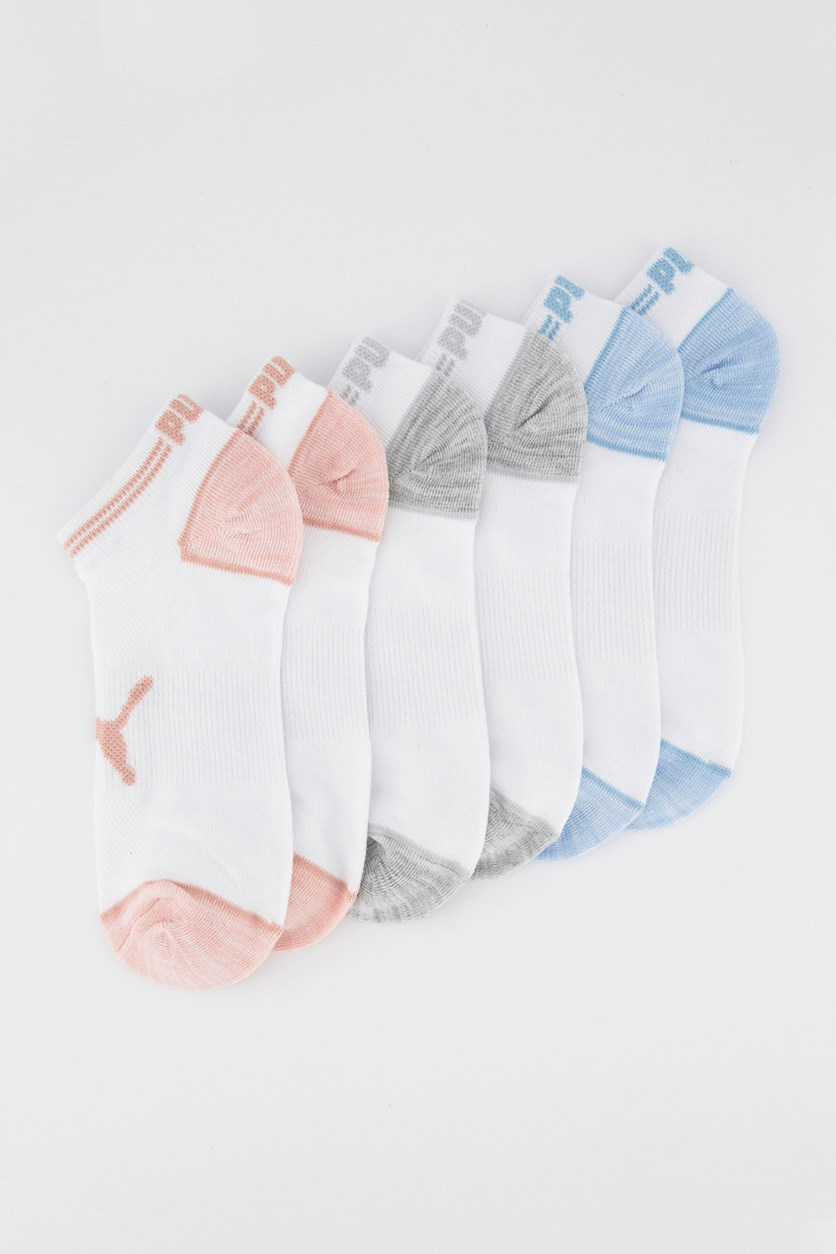 Women's 6 Pairs Super Lite Low Cut Sock, White/Pink/Blue/Grey